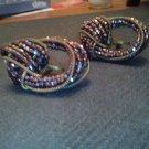 Earrings Vintage  40'S-50's   Screw Backs Iridescent  Purples Jewelry Earrings