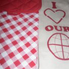 Kitchen BAR  - TOWELS CLEANING CLOTHS (2) 1 RED CHECK &  1 BEIGE W/POTHOLDER RED