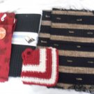 Kitchen Dry Mat - Black 2 Place Mat- 2 Terry Towels 2 Hand Made Potholders Rust