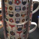 Mugs Owl  NIP Scandia Woods TWO Mugs Flowers Fox/Colorful Mugs Stackable Sale