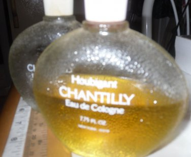 PERFUME FRAGRANCE CHANTILLY EAU DE COLOGNE VTG. 7.75 OZ. HALF FULL + 1 EMPTY