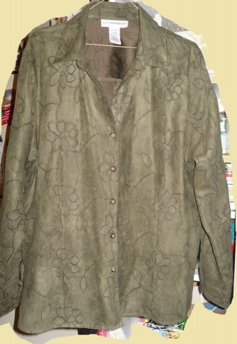 """Blouse Shirt """"SAG HARBOR"""" XL  LODEN GREEN FAUX SUEDE WITH FABULOUS STITCHING"""