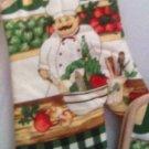 """POTHOLDER PAIR 7"""" - 1 OVEN MITT 13"""" - FAT ITALIAN CHEF - TUSCAN STYLE - TOMATO"""