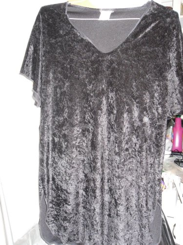 LOUNGE WEAR PAJAMA TOP CRUSHED VELVETY VINTAGE BLACK 2XL? CAP SLEEVE