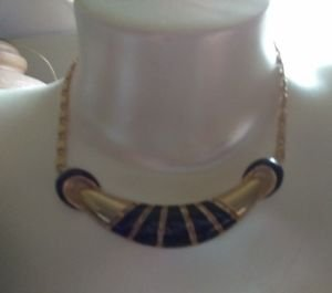 "NECKLACE CHOKER 7"" HANG.GOLD TONE & BLACK TRIBAL/MODERN STYLE ""S"" CHAIN LINK"