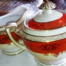 VINTAGE NORITAKE CHINA PIECES PITCHER & CREAMER ORIENTAL STYLE ORANGE