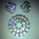 JEWELRY PIN & EARRING SET VINTAGE IRIDESCENT STONES SCREW BACK EARRINGS