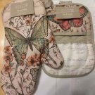 OVEN MITT LID GRABBER QUILTED SET BUTTERFLY MOTIFS BEIGE & COLORS+PR.DISH TOWELS