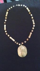 NECKLACE PENDANT STONE MEXICAN ONYX STONE  50'S 60'S VINTAGE PIECE FAMILY ESTATE
