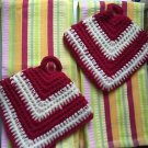 Kitchen BAR STRIPED COLORFUL LARGE 2 TOWELS PAIR HAND MADE POTHOLDERS NEW BUNDLE