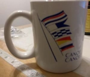 MUG COLLECTIBLE CUP MUG CANOE CANOE? VINTAGE MUG 60'S 70'S ERA. LEFT HAND MUG