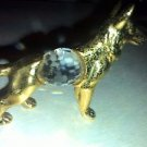 DOG BRASS CUT CRYSTAL VINTAGE DECORATIVE DISPLAY ITEM. GERMAN SHEPHERD DOG BRASS