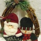 SANTA CHRISTMAS WREATH WELCOME SIGN FLEECE CHARACTERS + BONUS LADDER SANTA/DEER
