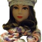 """HAT& Scarf Set - Variegated Pink-Lavender-White Curly scarf - Hand MaDE """"EMILY"""""""