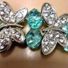 "BRACELET SEAFOAM AQUA CRYSTALS & 4 BUTTERFLY'S WITH FAUX STONES SMALL 7"" ELASTIC"