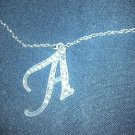 "RHINESTONE NECKLACE VINTAGE SILVER STYLIZED  ""A""  2 X 2 1/2"" LINK 14"" CHAIN"