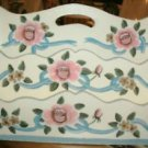 LETTER HOLDER - MAIL ORGANIZER - WOODEN HOME DECOR BLUE WHITE PINK FLORAL NICE!
