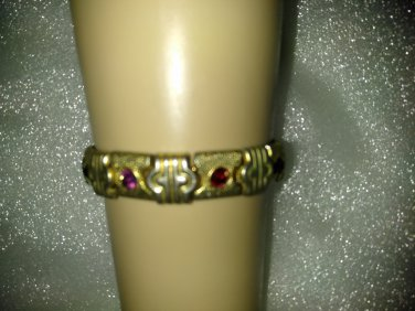 "BRACELET VINTAGE COLLECTIBLE 8"" GOLD TONE WITH COLORED STONES LINKS"