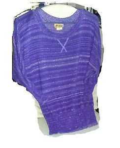 """MUDD"" VINTAGE TOP SHIRT PERIWINKLE SILVER HORIZONTAL STRANDS KNIT STYLE MED."