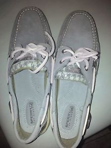 Shoes-Sperry-Topsiders-8-Med-New-TAN-BEIGE-W-SILVER SIDE CHECKS
