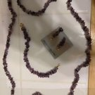 JEWELRY SET EARRINGS NECKLACE BRACELET AMETHYST VINTAGE TIKI ISLAND STYLE 3 PC.
