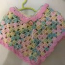 PONCHO SHRUG TODDLER HAND CROCHETED VARIEGATED RAINBOW & PINK W/ROSE  3 TO 5