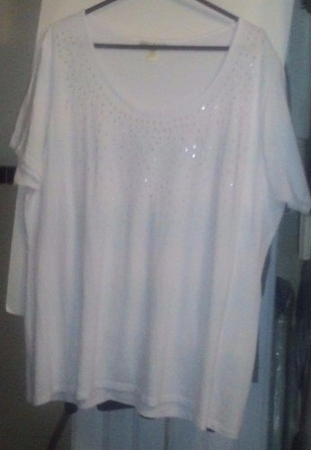 TOP STEPHANIE ROGERS 3X WHITE WITH SILVER STUDS