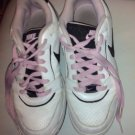 SHOES SNEAKERS AIR NIKE WHITE WITH PINK AND BLACK PINK LACES SIZE 8