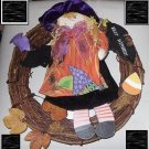 HALLOWEEN DECORATIVE WREATH WITCH WITH BATS CUTE WOOD & VINES COLORFUL