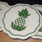 TRIVET PINAPPLE TILES WALL HANGING VINTAGE COLLECTIBLE SET-3 WHITE-GREEN COASTER