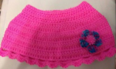 SHRUG SKIRT PONCHO TODDLER MULTI FLOWER POM IN HOT PINK SHELL EDGES HANDMADE