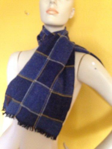 vtg Loch Shire Navy Blue Checkerboard Plaid Wool Scarf Yellow White USA
