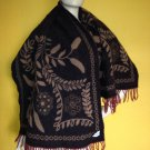 vtg Italian Arabella Corrierildo Felted Wool Scarf Floral Fringe 62x24 Wrap