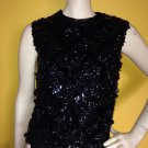 vtg 50s Fully Sequined Cami Sleeveless Blouse Top Rockabilly Retro Formal S