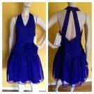 NOS Vtg 90s Scott McClintock Violet Party Dress Lace Crinoline Open Back 10 Prom