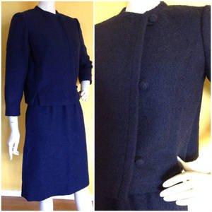 VTG 60s Garfinckel Nubby Boucle Knit Navy Skirt Suit Mod Jacket 3/4 Sleeves S