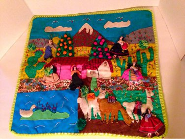 Vtg Peruvian Handicraft Textile Farming Village Embellished Quilt Wall Hanging