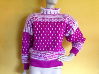 NOS vtg 80s Hot Pink White Wool Angora Handcrafted Fair Isle Sweater M Ski USA