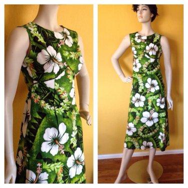 Vtg 60s 70s Royal Hawaiian Sun Dress long aline Green Floral Print Empire XXS/XS