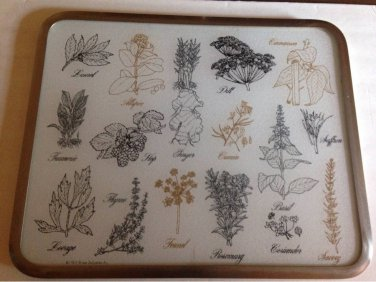 vtg 70s Retro Herbs Vance Surface Saver Countertop Trivet Cutting Board