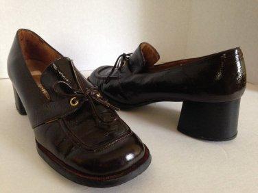 vtg 70s Stacked Heels Loafers Dark Brown Patent Leather 8N 8 N Hippie Boho