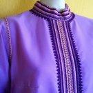 vtg 70s Lavender Maxi Hostess Dress Ethnic Tribal S/M Party Evening Hippie Boho