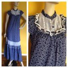 Vtg 70s Maxi Tent Calico Floral Dress Prairie Country Peasant Boho Festival S