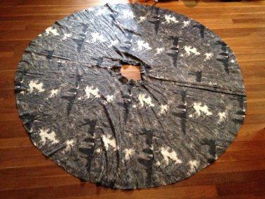 vtg 50s Circle Skirt Dramatic Dark Spooky Mansion Tree Novelty Print Halloween S