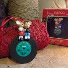 1990 Enesco Jingle Bell Rock Christmas Ornament 50s Style Rockabilly Mice Record