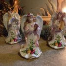 Royal Albert Musical Angel Christmas Ornaments Set/3 Old Country Roses w/Box
