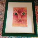 Barbara Easley Watercolor Green Eyed Cat Print Signed & Numbered 4/100