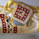 vtg NOS 3pc Terry Half Apron Hot Pads Pot Holders Set Yellow Floral
