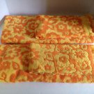 vtg Retro Fashion Manor 4pc Bath & Hand Towel Set Yellow Orange Flowers