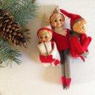 Rare vtg Hugging Set/3 Knee Hugger Elves Elf on the Shelf Boys Striped Hat Felt